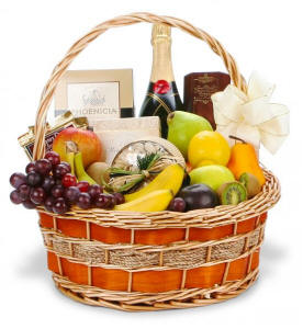 Champagne Gourmet - Fruit, Champagne and Gourmet Food Gift Basket