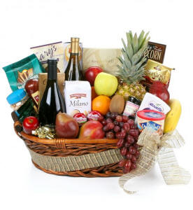 Gourmet Extravagance Fruit and Wine Gift Basket $189.95 Same Day Delivery