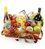Gourmet Fruit and Wine Gift Basket $139.95 Same Day Delivery
