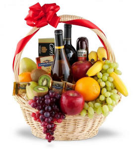 Wine, Fruit and Gourmet Gift Basket $129.95