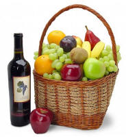 Wine and Fruit Basket $107.95 - Same Day Delivery